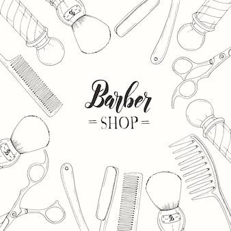 Hand gezeichneter friseursalon mit rasiermesser, schere, rasierpinsel, kamm, klassischer friseursalon pole.