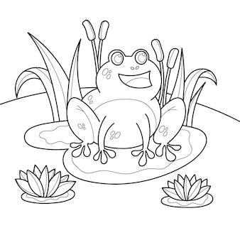 Hand gezeichneter frosch zum färben