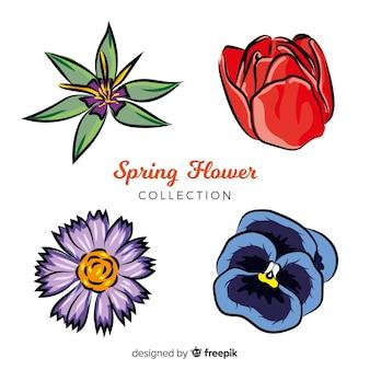 Hand gezeichneter Frühling blüht Sammlung