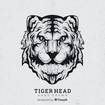 Hand gezeichneter furchtsamer tigerhintergrund