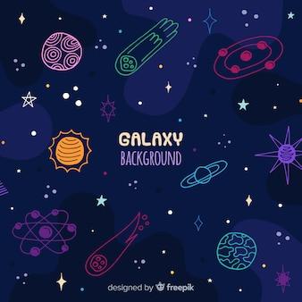 Hand gezeichneter galaxiehintergrund