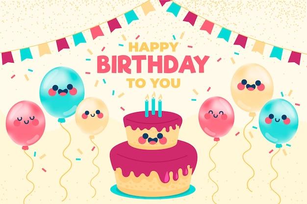 Hand gezeichneter geburtstagshintergrund mit kuchen und luftballons
