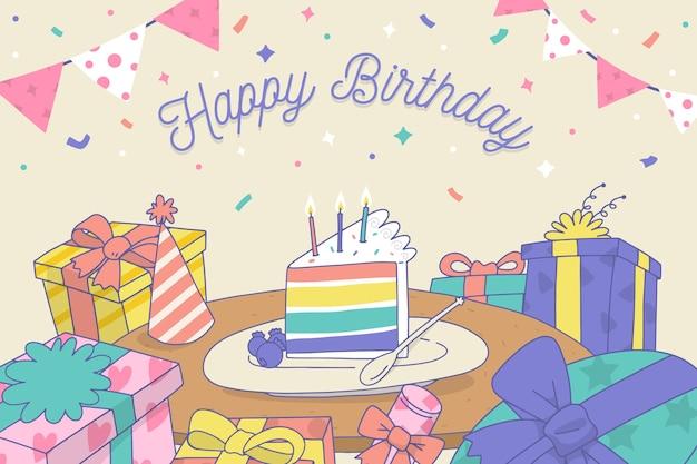 Hand gezeichneter geburtstagshintergrund mit regenbogenkuchen