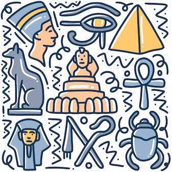 Hand gezeichneter gekritzel ägyptenfeiertag mit ikonen und gestaltungselementen
