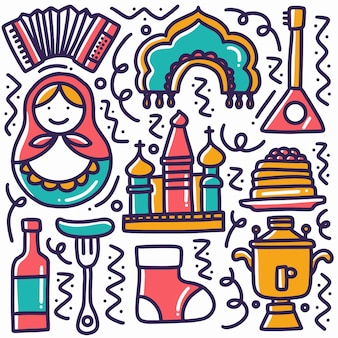Hand gezeichneter gekritzel thailand-feiertag mit ikonen und gestaltungselementen