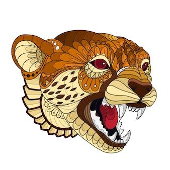 Hand gezeichneter gekritzel zentangle-gepard illustrationsvektor