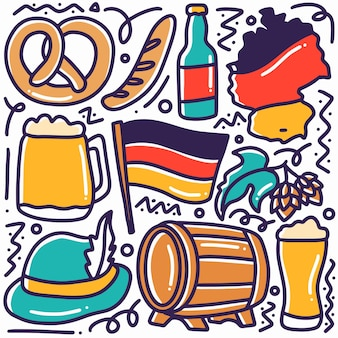 Hand gezeichneter gekritzeldeutschlandfeiertag mit ikonen und gestaltungselementen