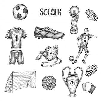 Hand gezeichneter gekritzelfußballsatz. vektor-illustration