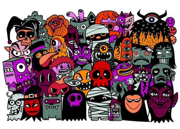 Hand gezeichneter gekritzelkarikatursatz des halloween-themas