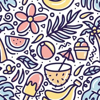 Hand gezeichneter gekritzelmuster-sommer am strand mit ikonen und gestaltungselementen