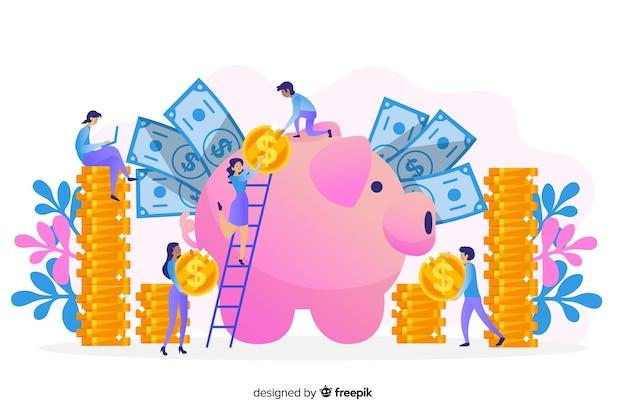 Hand gezeichneter geldsparender konzepthintergrund