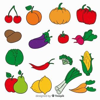Hand gezeichneter gemüse- und fruchthintergrund