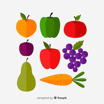 Hand gezeichneter gemüse- und fruchtsatz
