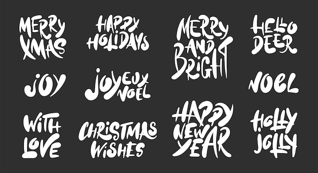 Hand gezeichneter gesetzter weihnachts- und neujahrsfeiertag