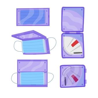 Hand gezeichneter gesichtsmasken-aufbewahrungskoffer