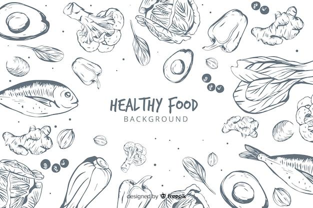 Hand gezeichneter gesunder lebensmittelhintergrund