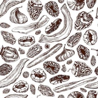 Hand gezeichneter getrockneter obst- und beerenhintergrund. nahtloses muster der dehydrierten früchte der weinlese. köstliches gesundes dessert. vegane lebensmittel- und snackverpackung.