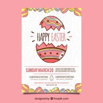 Hand gezeichneter glücklicher Ostern-Tageshintergrund