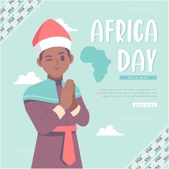 Hand gezeichneter glücklicher afrika-tagesillustrationshintergrund