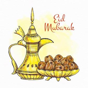 Hand gezeichneter glücklicher eid mubarak goldener muslimischer krug