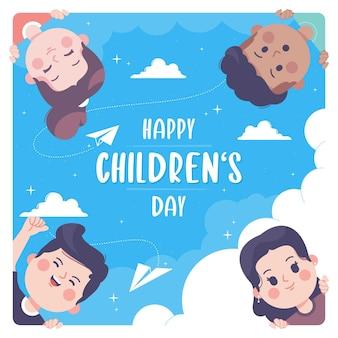 Hand gezeichneter glücklicher kindertag mit niedlichen kindern