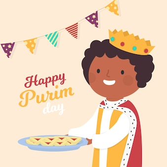 Hand gezeichneter glücklicher purim tag mit könig