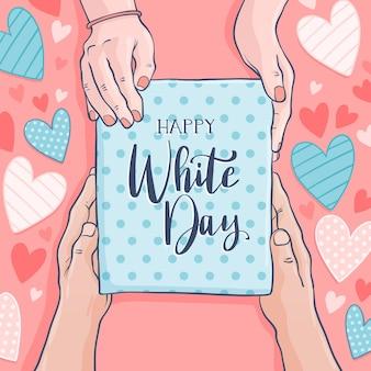 Hand gezeichneter glücklicher weißer tag