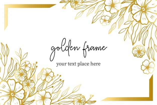 Hand gezeichneter goldener mit blumenrahmen