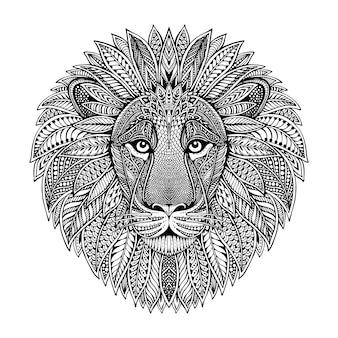 Hand gezeichneter grafischer verzierter löwenkopf mit ethnischem blumenkritzelmuster. illustration für malbuch, tätowierung, druck auf t-shirt, tasche. auf einem weißen hintergrund.