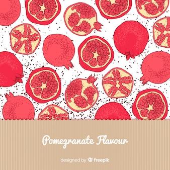 Hand gezeichneter granatapfelhintergrund