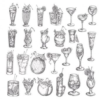 Hand gezeichneter großer satz des cocktails