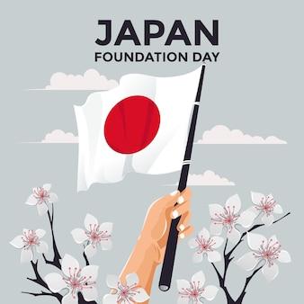 Hand gezeichneter gründungstag japan