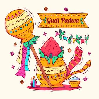 Hand gezeichneter gudi padwa hintergrund
