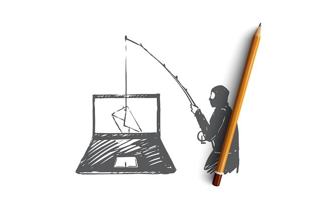 Hand gezeichneter hacker hackt laptop und stiehlt informationskonzeptskizze
