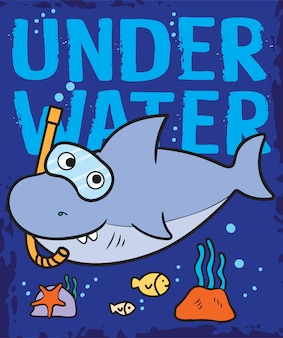 Hand gezeichneter hai unterwasser für t-shirt