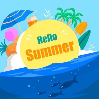 Hand gezeichneter hallo sommer