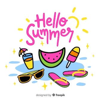 Hand gezeichneter hallo sommerhintergrund