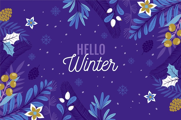 Hand gezeichneter hallo winterhintergrund