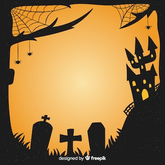 Hand gezeichneter halloween-friedhofsrahmen