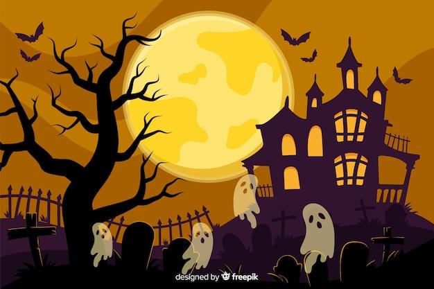 Hand gezeichneter halloween-hintergrund mit geisterhaus