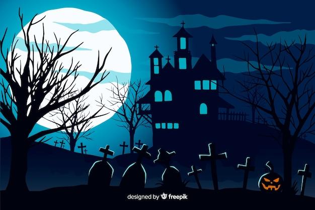 Hand gezeichneter halloween-hintergrund mit geisterhaus Premium Vektoren
