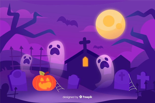 Hand gezeichneter halloween-hintergrund Kostenlosen Vektoren