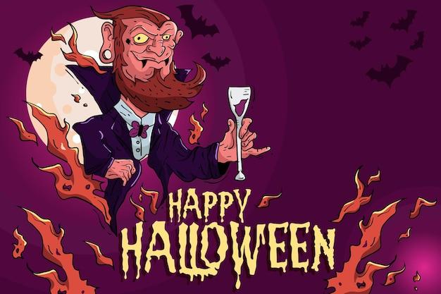 Hand gezeichneter halloween-illustrationshintergrund
