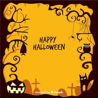 Hand gezeichneter halloween-ornamentrahmen