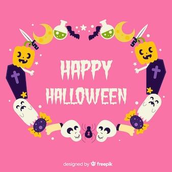 Hand gezeichneter halloween-rahmen mit mitteilung