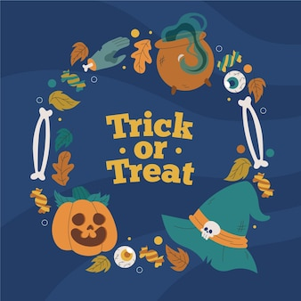 Hand gezeichneter halloween-rahmen mit süßes oder saures-nachricht