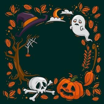 Hand gezeichneter halloween-rahmen