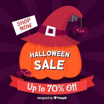 Hand gezeichneter halloween-verkaufskürbis mit hut