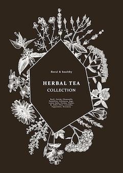 Hand gezeichneter heilkräuterrahmen auf tafel. blumen, unkraut und wiesen skizzen. weinlese-sommerpflanzenschablone. botanischer hintergrund mit floralen elementen im gravierten stil.