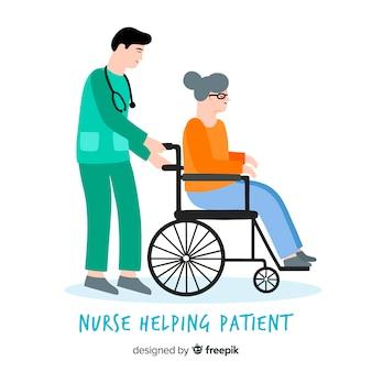 Hand gezeichneter helfender patient der krankenschwester